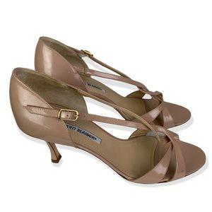 Manolo Blahnik Patent Leather Nude Open Toe Heels